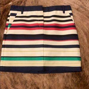 J crew striped mini skirt size 0